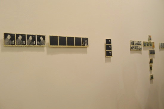 Installation of the painted 'stamps' by Yao Peng showed at Beijing Art Now (CH), Art Basel | HK.