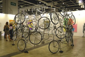 Ai Wei Wei's Freedom bicycle installation at Art Basel Hong Kong.
