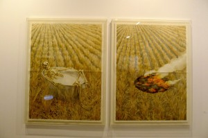 Agus Suwage's latest series  using watercolour, presented by Nadi Gallery at Art Basel HK.