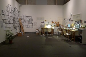 A re-contruction of Xu Bing's work room, part of the exhibition at Asia Society.