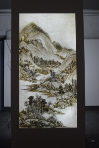 Xu Bing's 'Background Story' (2014) made from natural debris in a lightbox.
