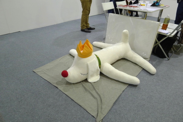 Yoshitomo Nara's stuffed dog shown by Kumquat Gallery, Art Central.