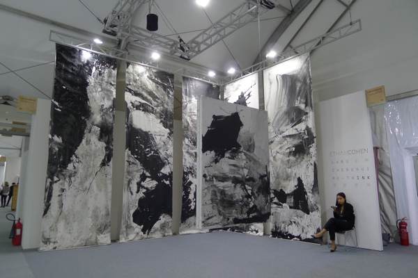 A huge chinese ink painting presentation by artist Lan  Zheng Hui at Ethan Cohen Gallery, Art Central.