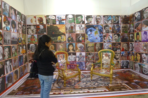 Malaysian J. Anu showing his installation of cushion covers with Wei-Ling Gallery, ABHK.